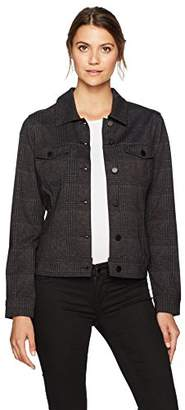 Liverpool Jeans Company Women's Classic Denim Jacket in Glenn Windowpane Ponte Knit