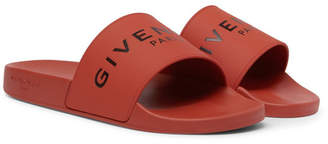 Givenchy Logo-Print Rubber Slides - Men - Orange