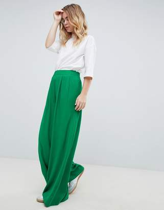 Asos Design DESIGN tailored green pop wide leg trousers