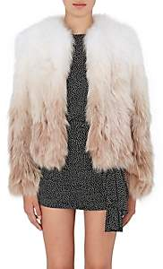 Saint Laurent Women's Gradient Fox-Fur Coat - White