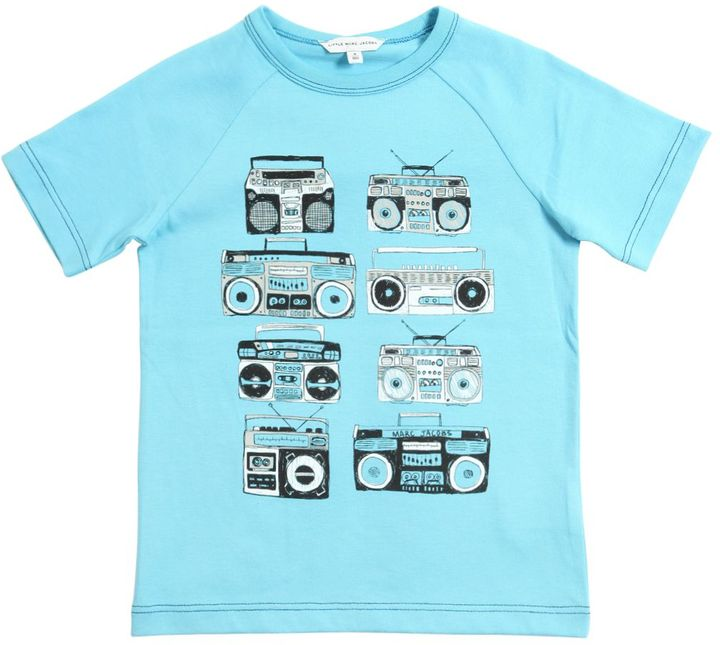 Little Marc Jacobs Stereo Printed Cotton Jersey T-Shirt