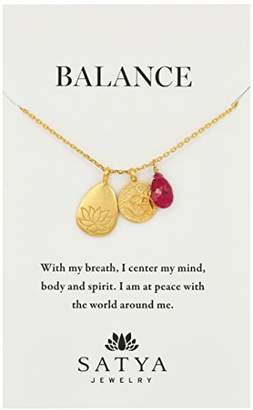 Satya Jewelry Classics Gold-Plated Ruby Lotus Three-Charm Necklace