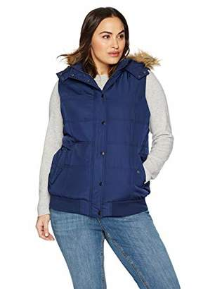The Plus Project Women's Plus Size Quilted Puffer Vest with Hood and Removable Faux Fur Trim 2X-Large Navy