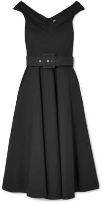 Michael Kors Belted Stretch-cotton Dress - Black