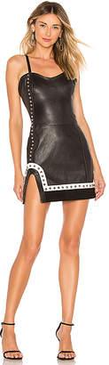 Understated Leather Studded Split Mini Dress