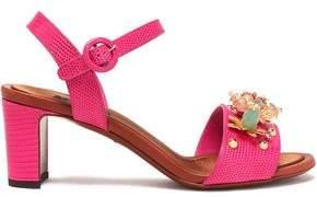 Dolce & Gabbana Keira Embellished Lizard-Effect Leather Sandals