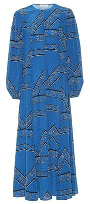 Ganni Printed silk maxi dress