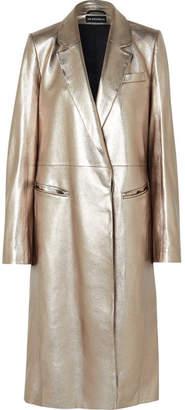 Ann Demeulemeester Metallic Leather Coat - Matte gold