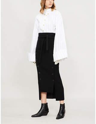 Awake High-rise asymmetric buttoned woven midi skirt
