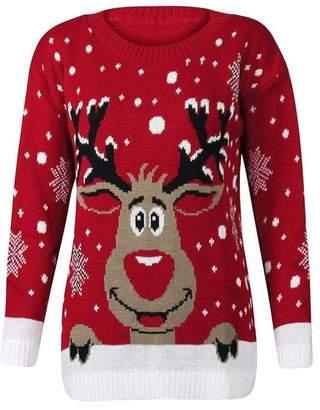Lush Lane Womens Long Sleeves Star Rudolph Print Novelty Christmas Jumper