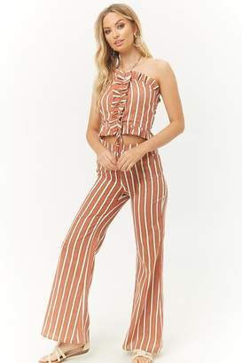 Forever 21 Ruffled Halter Top & Striped Pants Set