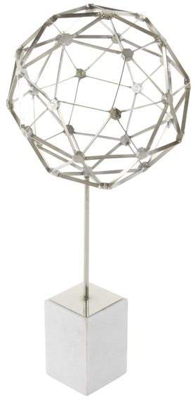 Brimfield & May Modern Iron Nucleus Design Sphere Sculpture With White Marble Base