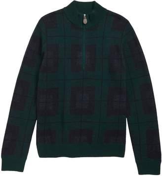 Vineyard Vines Black Watch Plaid Half Zip Sweater