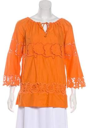 Philosophy di Alberta Ferretti Eyelet Long Sleeve Blouse