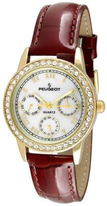 Peugeot Women's Goldtone Swarovski Brown Leather Strap Watch