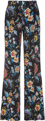 Etro Fuji High-Rise Silk Flared Pants