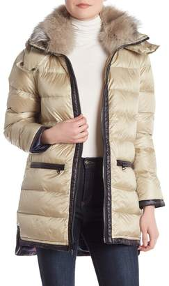Trina Turk Tabby Genuine Dyed Fox Fur Trim Hooded Quilted Jacket