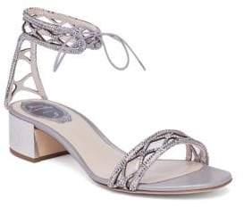 Rene Caovilla Crystal& Suede Ankle-Tie Block Heel Sandals