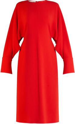 Slashed-sleeve stretch-cady dress