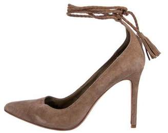 Joie Suede Pointed-Toe Wrap-Up Pumps