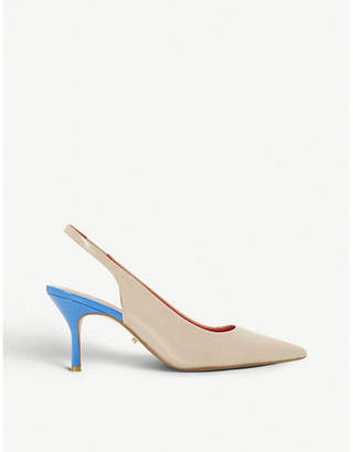 Dune Cherubb two-tone patent slingback courts