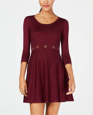 BCX Juniors' Grommet-Waist Fit & Flare Sweater Dress