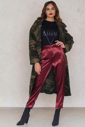 Na Kd Party Metallic Straight Pants Dark Red