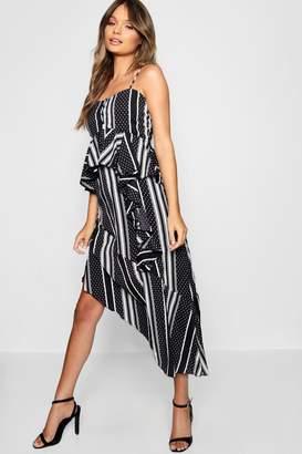 boohoo Monochrome Mixed Print Layered Cami Dress