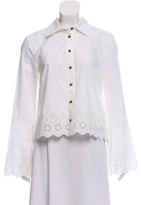 Derek Lam Eyelet Embroidered Button-Up Top w/ Tags White Eyelet Embroidered Button-Up Top w/ Tags