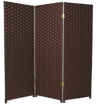 Oriental Furniture Small Size Room Divider, 4-Feet Rattan Like Woven Plant Fiber Folding Privacy Screen