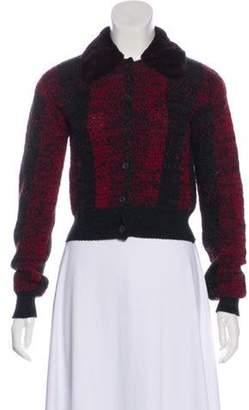 Prada Wool Faux Fur Cardigan Red Wool Faux Fur Cardigan