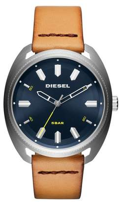 Diesel R) Fastbak Leather Strap Watch, 45mm x 51mm