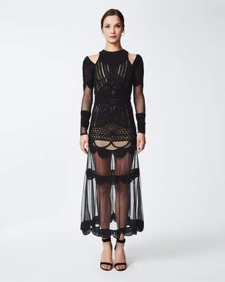 Nicole Miller Beaded Crochet Gown