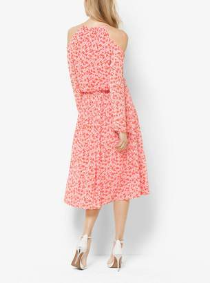 MICHAEL Michael Kors Floral-Print Peekaboo Tie-Neck Dress