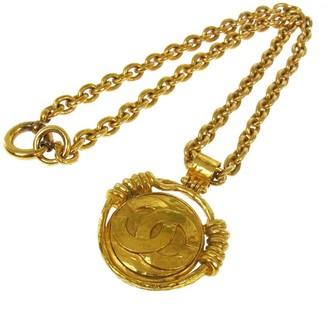 CC Logos Gold Chain Mirror Pendant Necklace