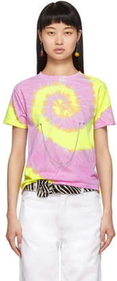 Collina Strada Purple and Yellow Tie-Dye Pierced Chain T-Shirt