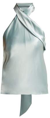 Galvan Halterneck Satin Top Womens Light Blue