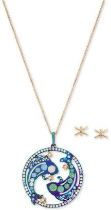 "Betsey Johnson Two-Tone Multi-Stone Pisces Zodiac Pendant Necklace & Stud Earrings Set, 21-1/2"" + 3"" extender"