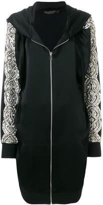 Amen embellished sleeve hooded dress