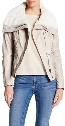 GUESS Faux Shearling Collar Faux Leather Moto Jacket $180 thestylecure.com