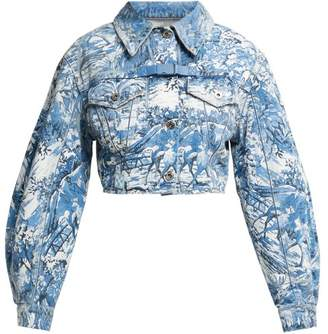 Off-White Off White Tapestry Print Cropped Denim Jacket - Womens - Blue White
