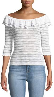 Rebecca Taylor Off-Shoulder Striped Ruffle Top