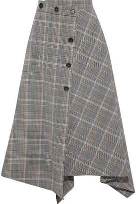 Sonia Rykiel Asymmetric Houndstooth Wool-Blend Midi Skirt