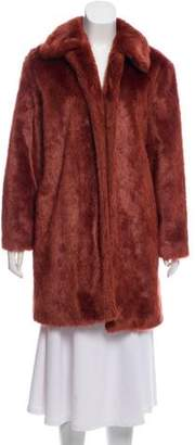 Frame Faux Fur Knee-Length Coat