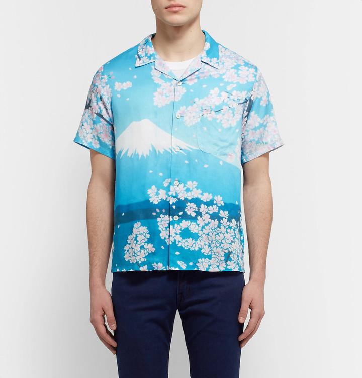 Blue Blue Japan Camp-Collar Printed Woven Shirt 2
