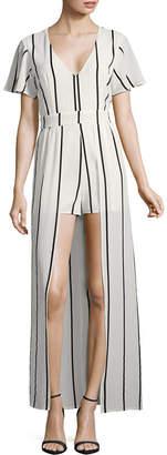 CRYSTAL SKY Crystal Sky Short Sleeve Stripe Maxi Dress-Juniors