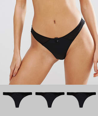 New Look 3 pack microfibre thong