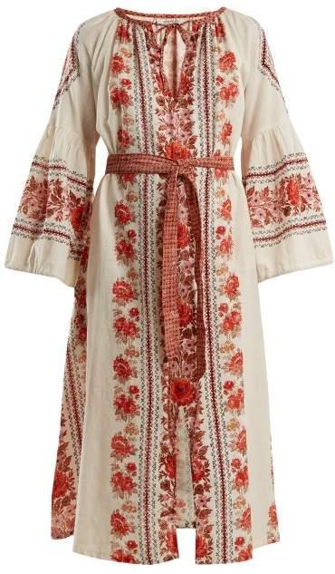 D'ASCOLI Flamenco floral-print cotton dress