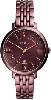Fossil Women Jacqueline Red-Tone Stainless Steel Bracelet Watch 36mm ES4100