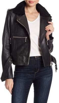 Muu Baa Muubaa Guila Genuine Shearling Collar Leather Biker Jacket